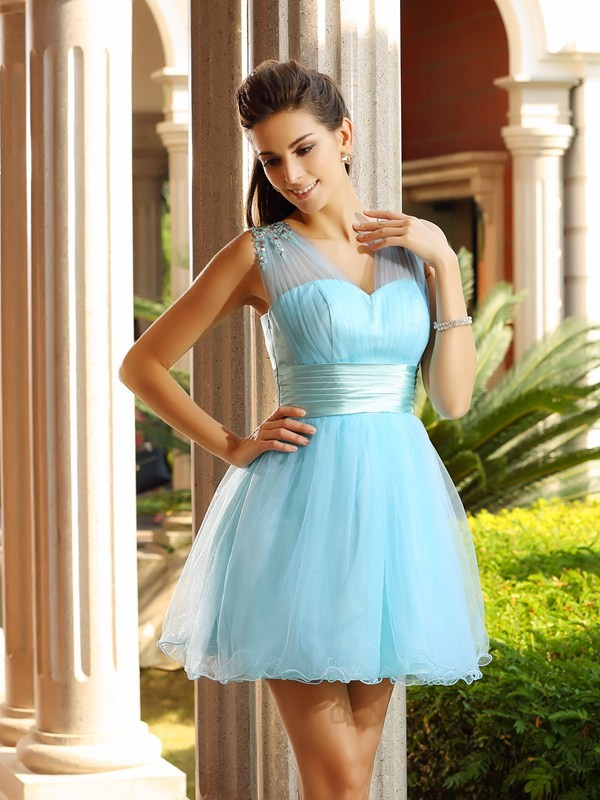 A-Line/Princess Beading V-neck Sleeveless Short/Mini Net Dresses