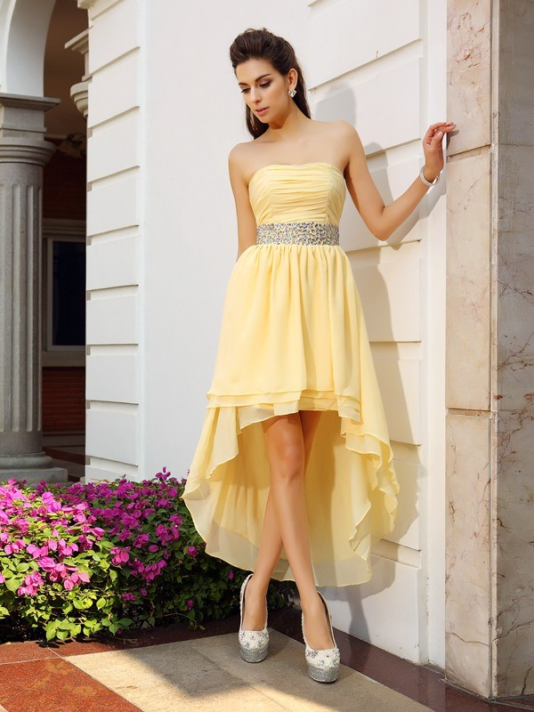 A-Line/Princess Beading Strapless Sleeveless Asymmetrical Chiffon Dresses