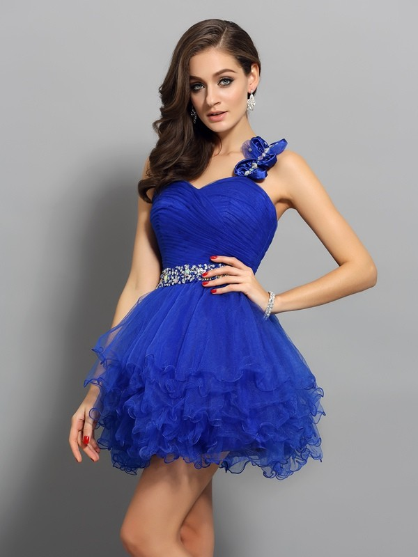 A-Line/Princess Beading One-Shoulder Sleeveless Short/Mini Organza Dresses