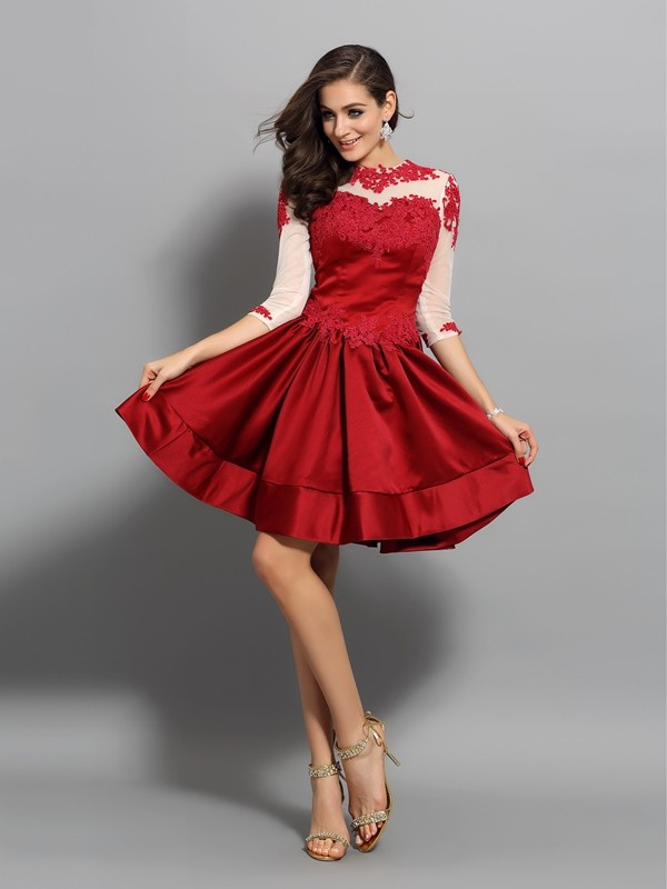 A-Line/Princess Applique High Neck 1/2 Sleeves Short/Mini Satin Dresses