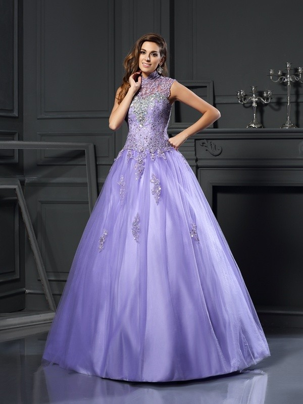 Ball Gown Beading High Neck Sleeveless Floor-Length Net Dresses