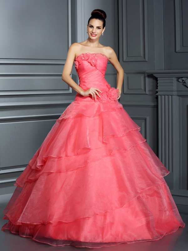 Ball Gown Hand-Made Flower Strapless Sleeveless Floor-Length Organza Dresses