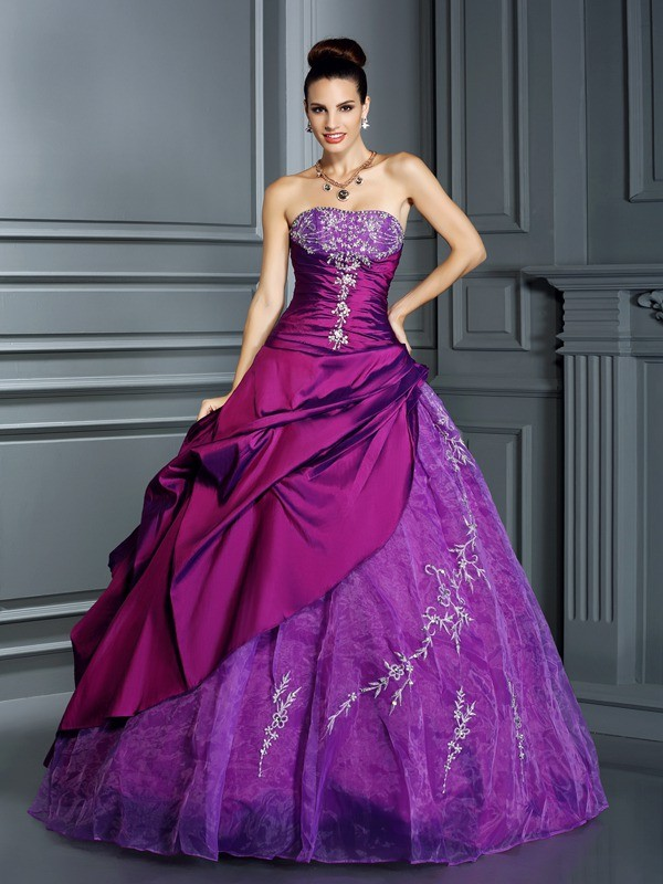 Ball Gown Applique Strapless Sleeveless Floor-Length Taffeta Dresses