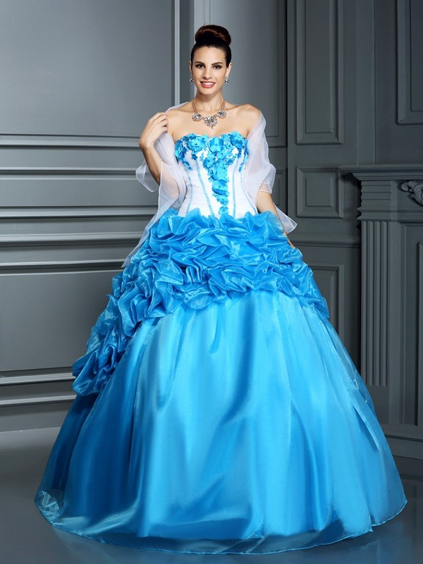 Ball Gown Ruffles Sweetheart Sleeveless Floor-Length Satin Dresses