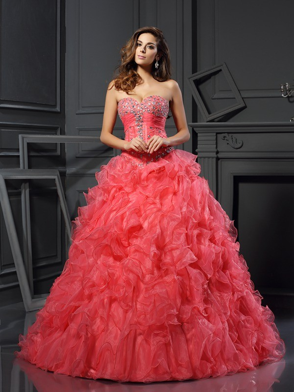 Ball Gown Ruffles Sweetheart Sleeveless Floor-Length Organza Dresses