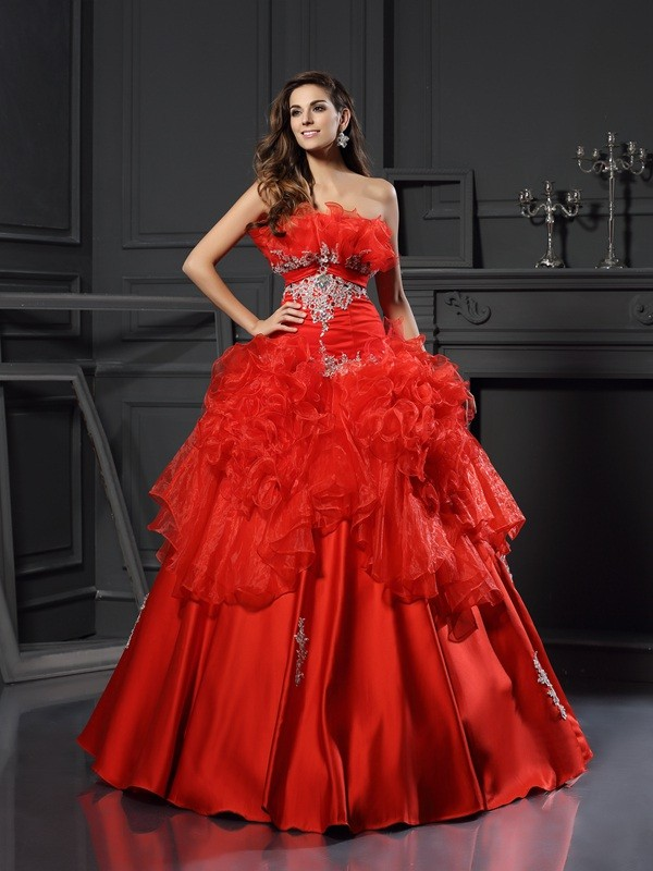 Ball Gown Ruffles Strapless Sleeveless Floor-Length Organza Dresses
