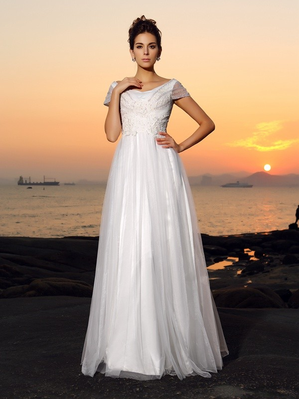 A-Line/Princess Beading Off-the-Shoulder Short Sleeves Floor-Length Tulle Wedding Dresses