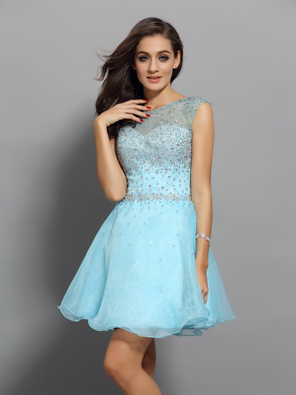 A-Line/Princess Beading Scoop Sleeveless Short/Mini Organza Dresses