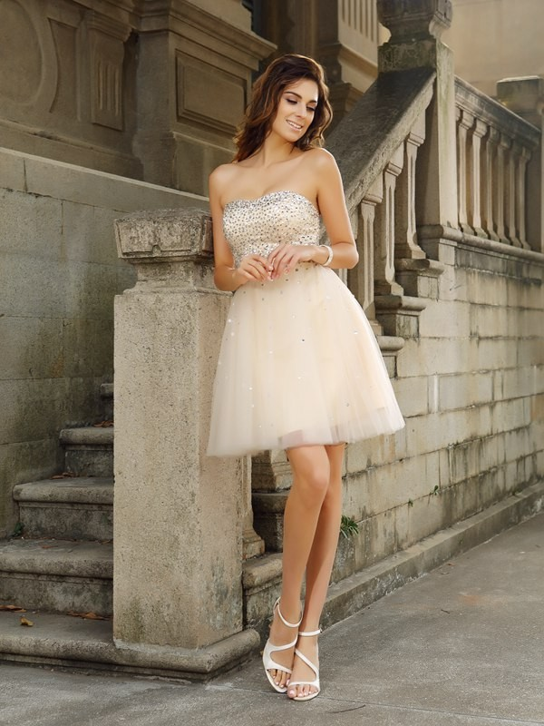 A-Line/Princess Beading Strapless Sleeveless Short/Mini Satin Dresses
