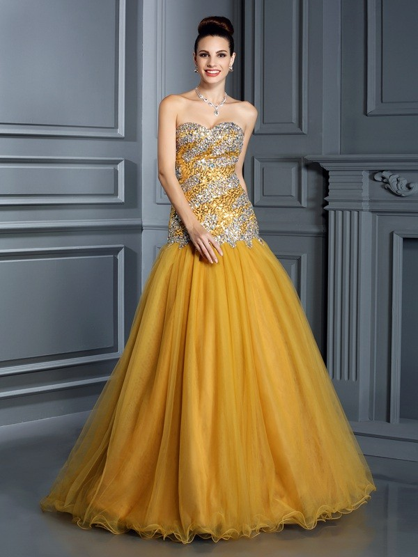 A-Line/Princess Ruffles Sweetheart Sleeveless Floor-Length Satin Dresses