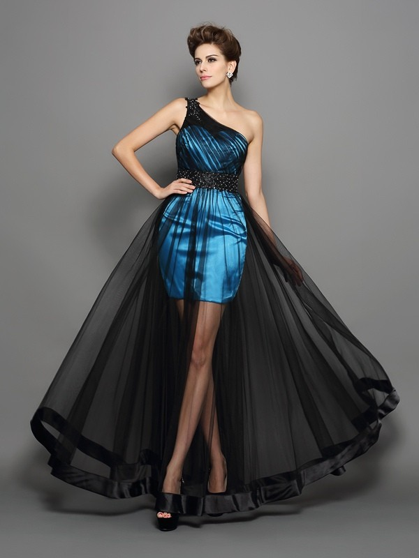 A-Line/Princess Ruched One-Shoulder Sleeveless Floor-Length Elastic Woven Satin Dresses