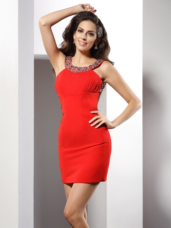 Sheath/Column Beading Scoop Sleeveless Short/Mini Chiffon Dresses