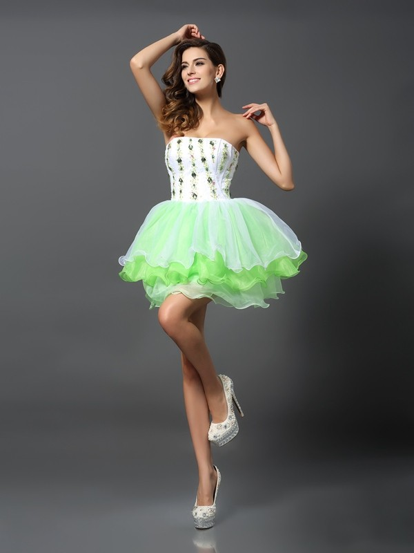 A-Line/Princess Ruffles Strapless Sleeveless Short/Mini Organza Dresses
