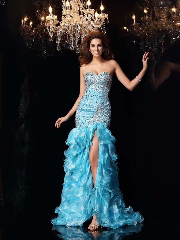 Trumpet/Mermaid Beading Sweetheart Sleeveless Asymmetrical Organza Dresses