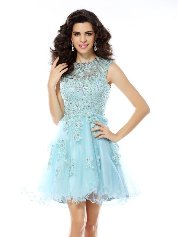 A-Line/Princess Beading Scoop Sleeveless Short/Mini Satin Dresses
