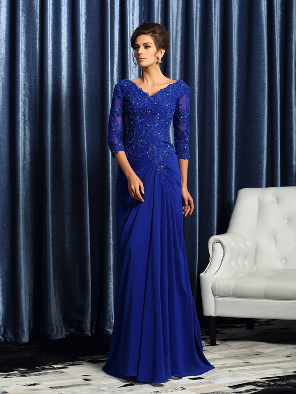 A-Line/Princess Applique V-neck 3/4 Sleeves Sweep/Brush Train Chiffon Mother of the Bride Dresses