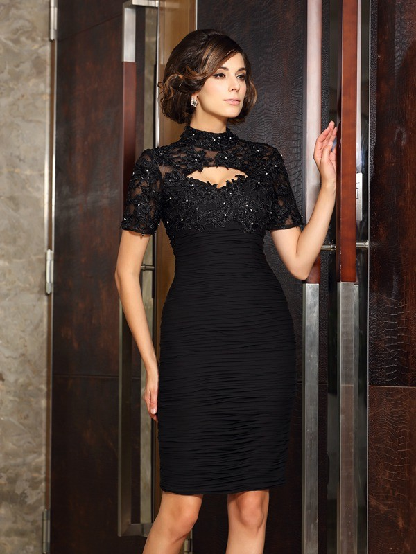 Sheath/Column Beading High Neck Short Sleeves Knee-Length Chiffon Mother of the Bride Dresses