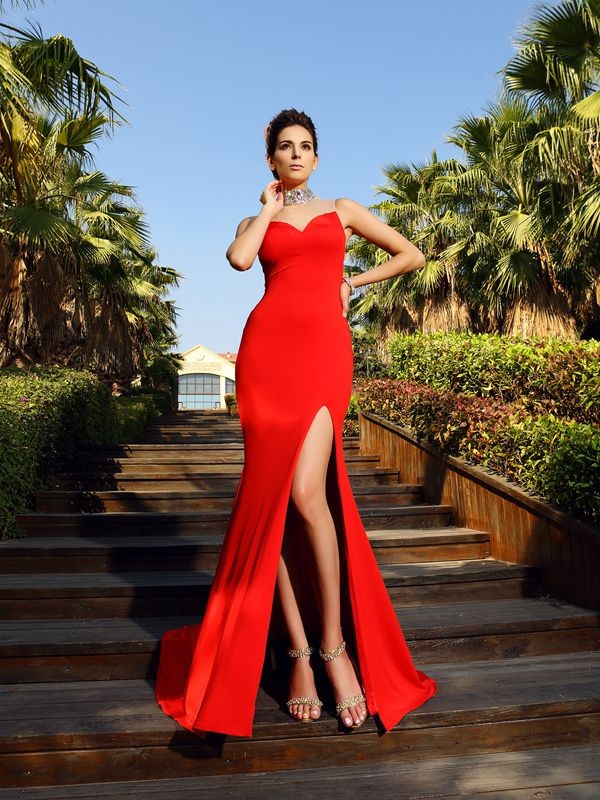 Sheath/Column Beading High Neck Sleeveless Court Train Spandex Dresses