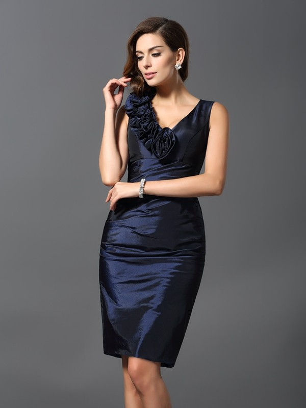 Sheath/Column Hand-Made Flower V-neck Sleeveless Knee-Length Taffeta Dresses