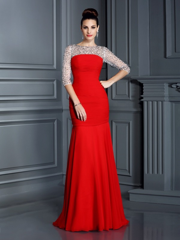 Trumpet/Mermaid Beading Scoop 3/4 Sleeves Floor-Length Chiffon Dresses