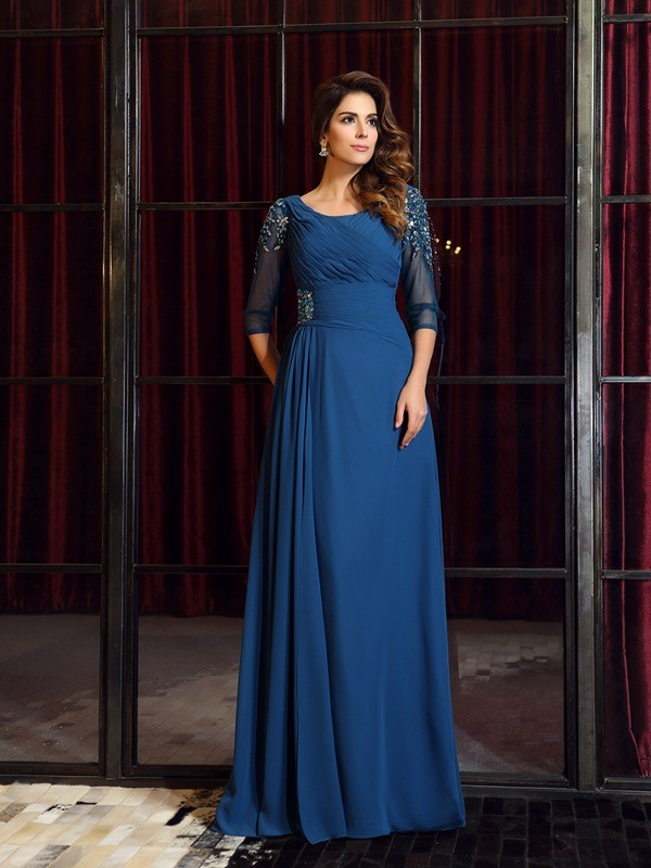A-Line/Princess Ruched Square 1/2 Sleeves Floor-Length Chiffon Dresses