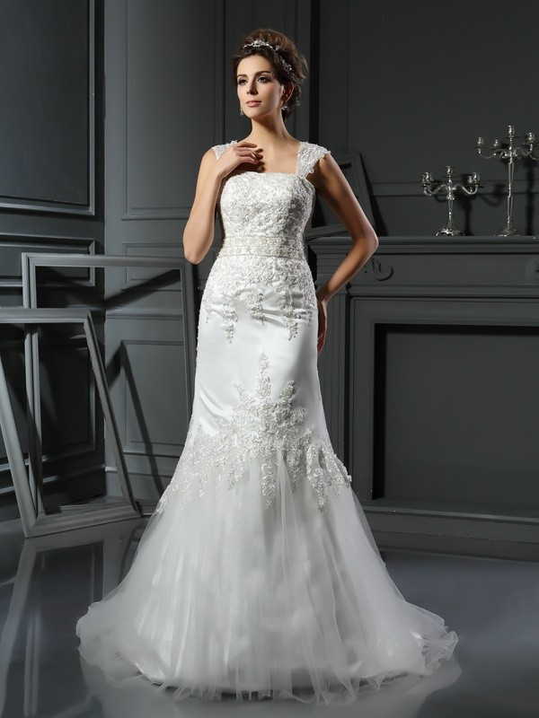 Trumpet/Mermaid Applique Straps Sleeveless Court Train Satin Wedding Dresses