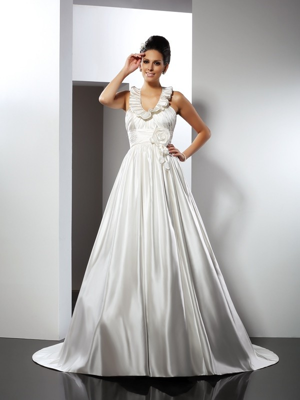 A-Line/Princess Hand-Made Flower Halter Sleeveless Chapel Train Satin Wedding Dresses
