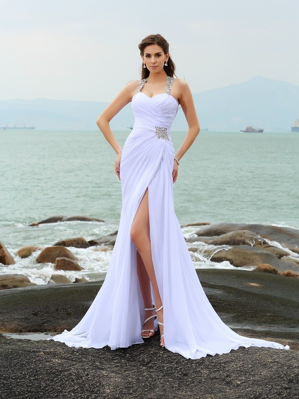 Sheath/Column Beading Straps Sleeveless Chapel Train Chiffon Wedding Dresses