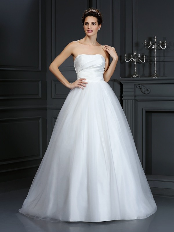 Ball Gown Pleats Strapless Sleeveless Court Train Taffeta Wedding Dresses