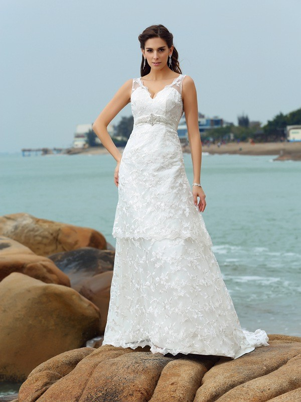 A-Line/Princess Applique Straps Sleeveless Chapel Train Satin Wedding Dresses