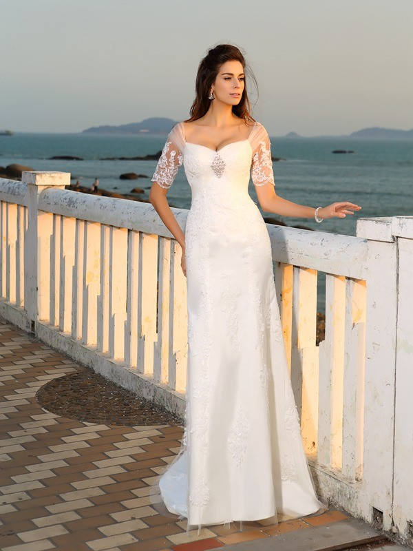 Sheath/Column Applique Sweetheart Short Sleeves Floor-Length Satin Wedding Dresses