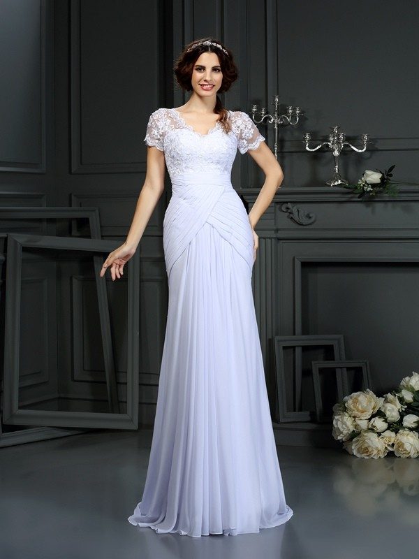 Sheath/Column Lace V-neck Short Sleeves Court Train Chiffon Wedding Dresses