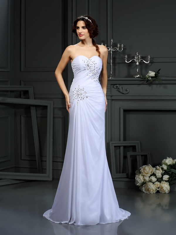 Sheath/Column Beading Sweetheart Sleeveless Sweep/Brush Train Chiffon Wedding Dresses