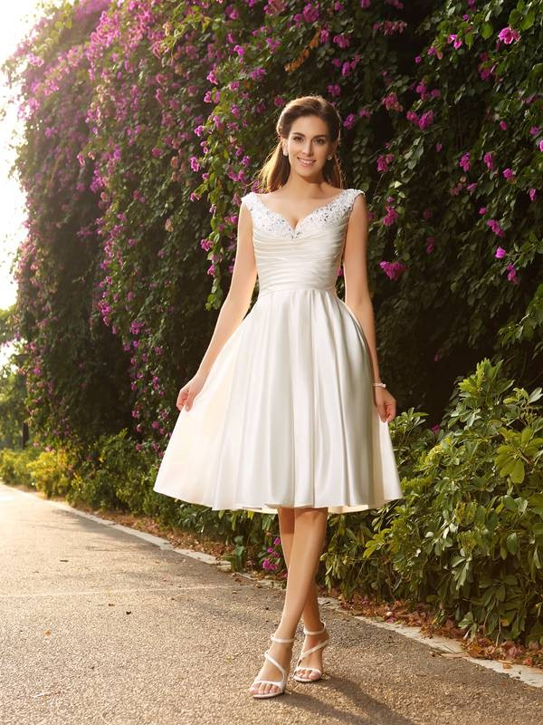 A-Line/Princess Beading V-neck Sleeveless Knee-Length Satin Wedding Dresses