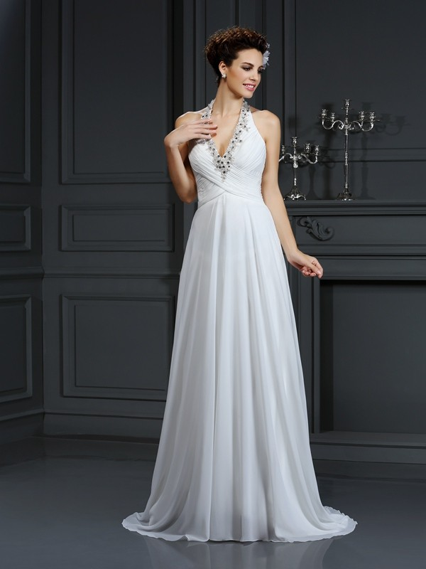 A-Line/Princess Beading Halter Sleeveless Court Train Chiffon Wedding Dresses