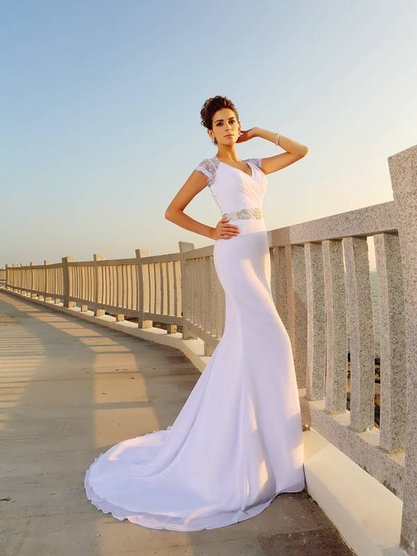 Sheath/Column Beading V-neck Sleeveless Court Train Chiffon Wedding Dresses