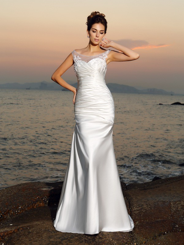 Trumpet/Mermaid Beading Scoop Sleeveless Sweep/Brush Train Satin Wedding Dresses