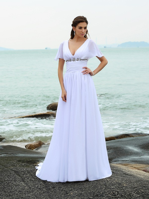 A-Line/Princess Ruffles V-neck Short Sleeves Sweep/Brush Train Chiffon Wedding Dresses