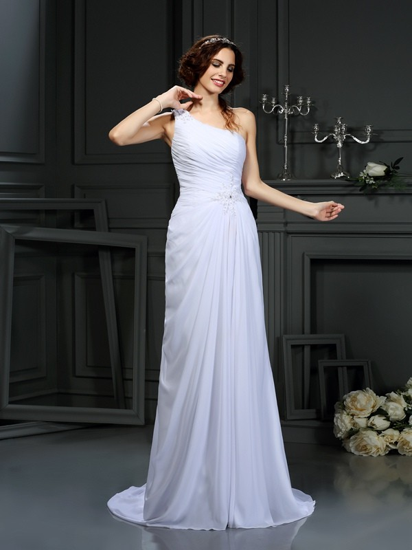 A-Line/Princess Pleats One-Shoulder Sleeveless Court Train Chiffon Wedding Dresses