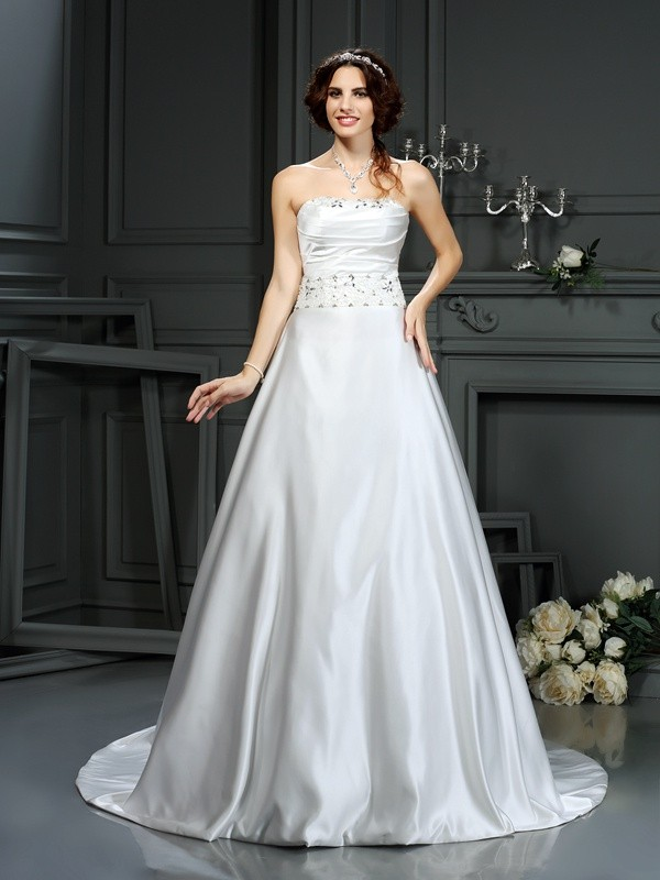 A-Line/Princess Beading Strapless Sleeveless Court Train Satin Wedding Dresses