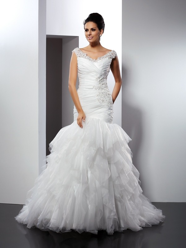 Trumpet/Mermaid Applique V-neck Sleeveless Cathedral Train Tulle Wedding Dresses