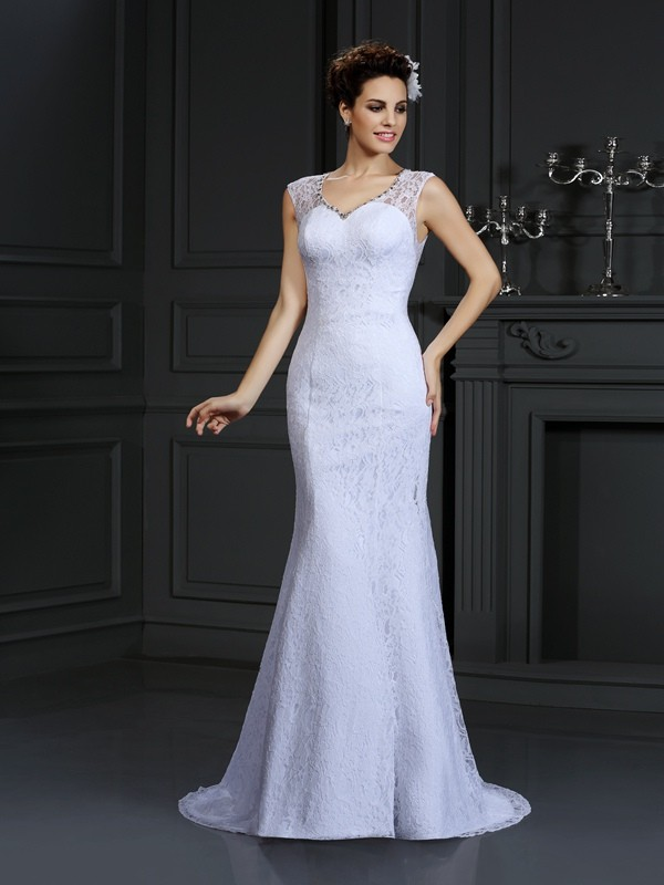 Sheath/Column Lace V-neck Sleeveless Court Train Satin Wedding Dresses