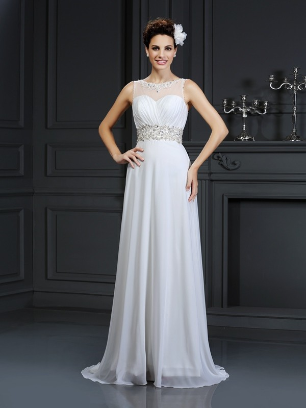A-Line/Princess Ruffles Bateau Sleeveless Chapel Train Chiffon Wedding Dresses