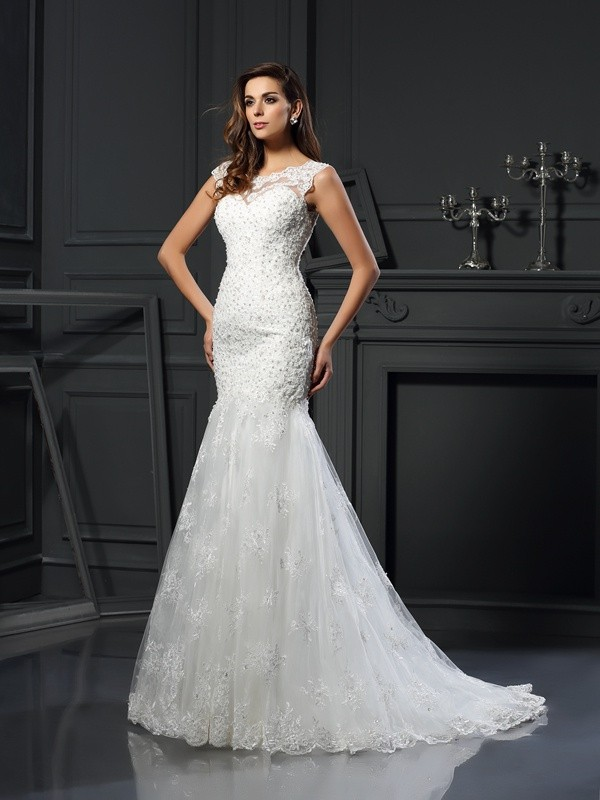 Trumpet/Mermaid Applique Scoop Short Sleeves Chapel Train Tulle Wedding Dresses