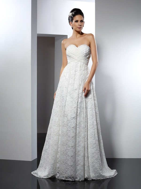A-Line/Princess Sweetheart Sleeveless Sweep/Brush Train Satin Wedding Dresses