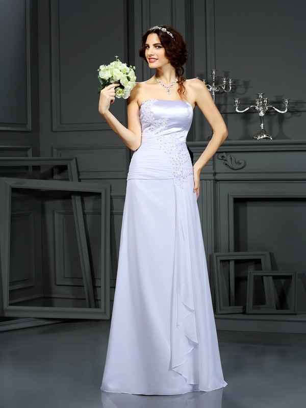 Sheath/Column Beading Strapless Sleeveless Sweep/Brush Train Chiffon Wedding Dresses