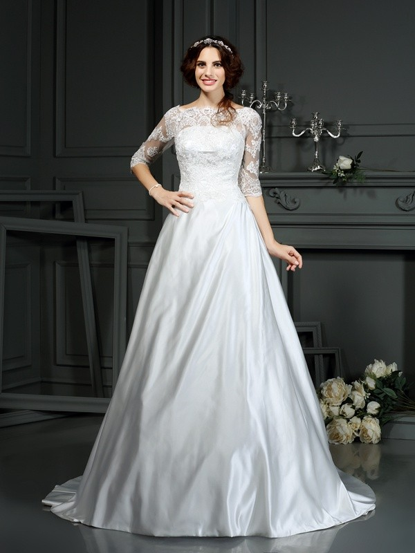 A-Line/Princess Lace Bateau 1/2 Sleeves Court Train Satin Wedding Dresses