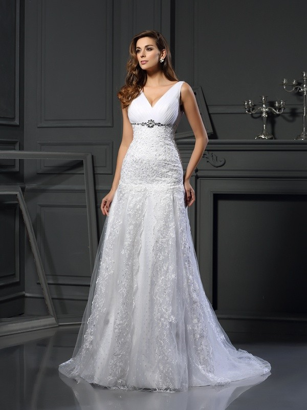 A-Line/Princess Beading V-neck Sleeveless Chapel Train Satin Wedding Dresses