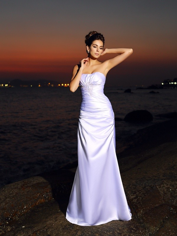 Trumpet/Mermaid Sweetheart Sleeveless Chapel Train Satin Wedding Dresses
