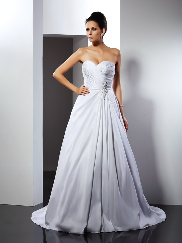 A-Line/Princess Ruffles Sweetheart Sleeveless Court Train Satin Wedding Dresses